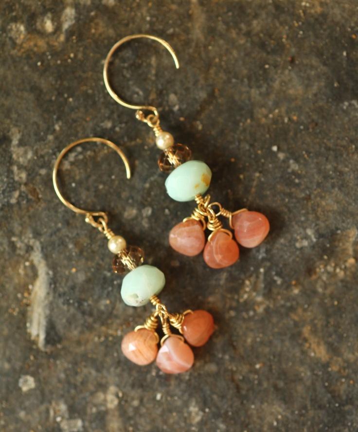 Pink Petals - Jewelry, Chandelier Earrings, Silver, Hoop, Drop, Beadwork, Dangle.