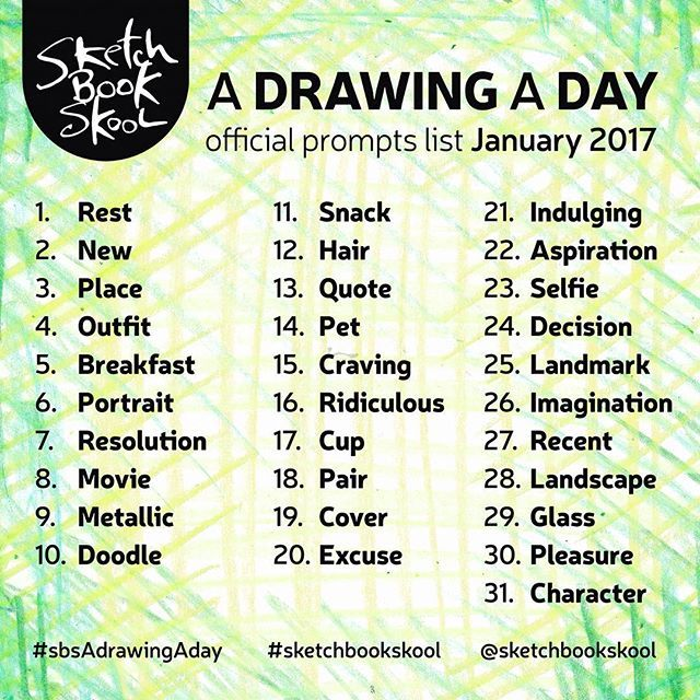 Are YOU ready?! The staff and fakulty here at Sketchbook Skool are pumped to kick off the #SBSADrawingADay challenge tomorrow. Here are the daily prompts for the month of January in case you need some inspiration! #adrawingaday #SBSADrawingADay #illustratedjournaling #artjournal #visualjournal #visualdiary #alteredbook #creativejournal #artjournaling #sketchbook #draw #drawing #365sketches #instaart #illustratedlife #alteredjournal #arttoldnew #sketchaday #drawdaily #instadraw #drawings…