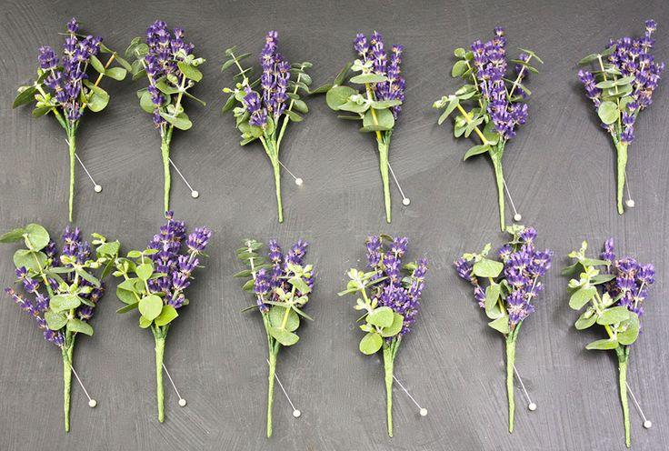 Lavender and eucalyptus buttonholes.