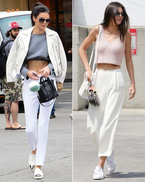 At first, these two outfits look very similar, but the cities' influences reveal themselves in small details. For instance, in N.Y.C. Jenner picked more fitted pants, pointed flats and a white leather jacket. For L.A., she was more laid back with sporty sneakers and looser-fitting pants. One item of hers that worked for both cities? A mini satchel bag adorned with furry accessories.