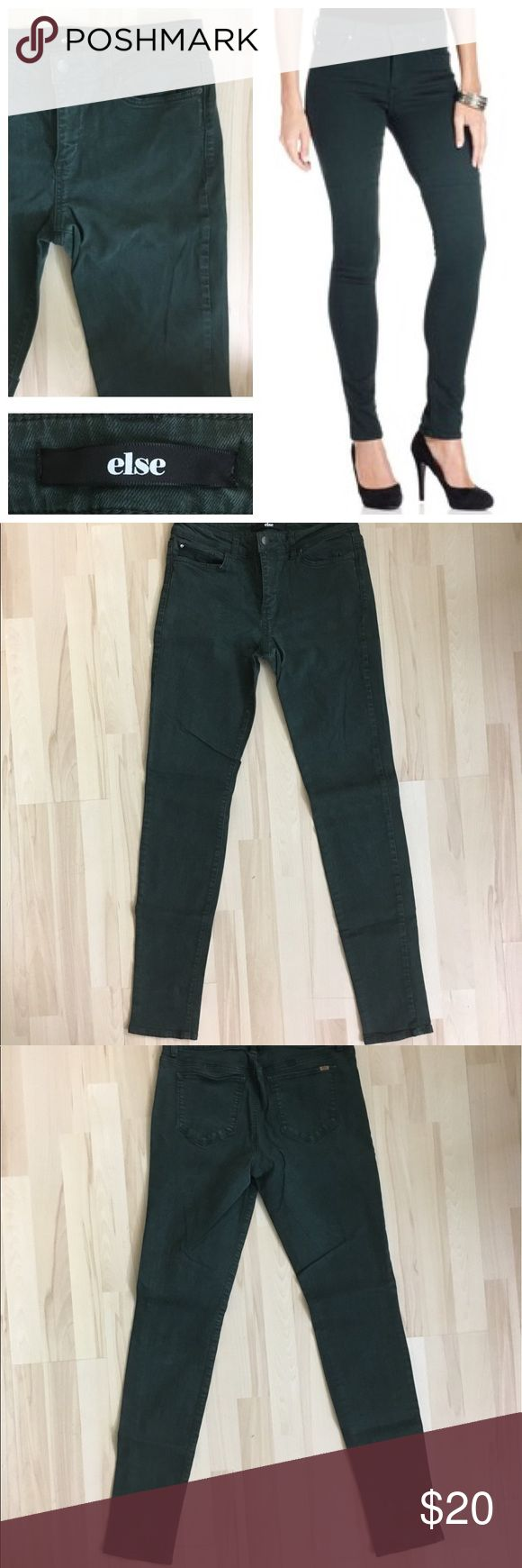 "Else Dark Green Skinny Jeans (size 29) Great condition - like new!  In a dark green wash perfect for fall, these Else Jeans skinny jeans hit the colored-denim trend right on the mark! Women's size 29.   29"" waist 31"" - 32"" inseam 39 - 40"" outseam Else Jeans Skinny"