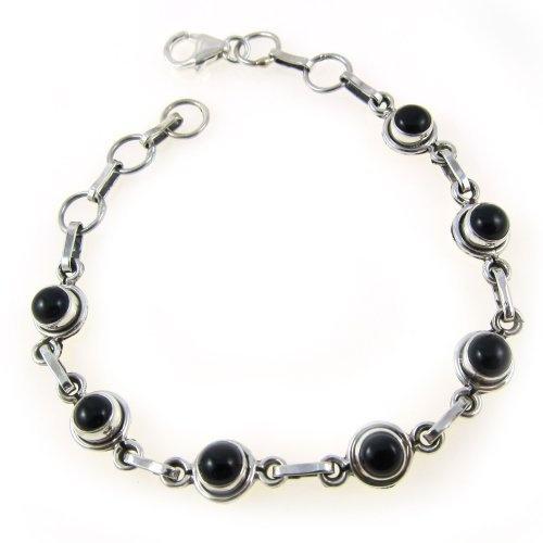 Ethnische Mode, Silber mit Onyx Verschluss-Armband 17,78 cm von ShalinIndia, http://www.amazon.de/gp/product/B005KH1DN6/ref=cm_sw_r_pi_alp_c0DWqb0X3N6DN