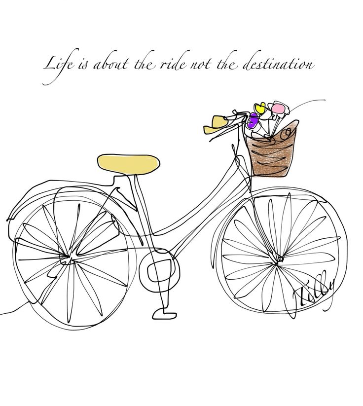Created with a single line. It's about enjoying the journey x cycling love. Quotes. Positivity.