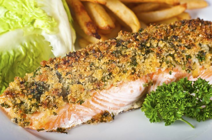 Baked Salmon Fillet with Crispy Herb Crust - this may just be my new favorite salmon recipe. I did not have fresh herbs so I used dried cilantro and dried parsley, also added some garlic to the panko mixture. Used dijon mustard and baked for 17 minutes. Came out prefect and really juicy.
