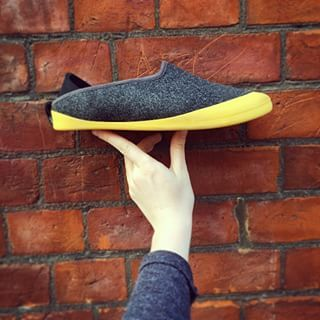 mahabis womens slipper with skane yellow outdoor sole against a wall // #mahabisselfie