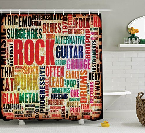 Themed Shower Curtain..Music Decor Collection, Retro Rock and Roll Symbol Lettering in Grunge Distressed Colors Polyester Shower Curtain Set with Hooks, Multi