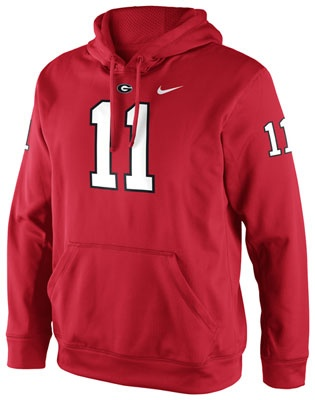 Georgia Bulldogs Red Nike Football Jersey Hooded Sweatshirt