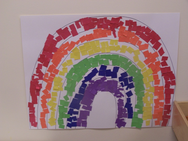 rainbow art project - torn paper would work tooRainbows Crafts, Learning Colors, Art Lessons, Rainbow Art, Colors Rainbows, Rainbows Art, Art Center, Colors Theme Preschool, Art Projects