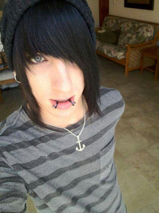 Emo Boy Black Hair With Beanie Blue Eyes  Emos -8324