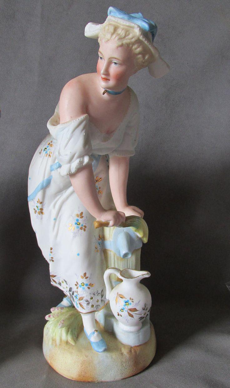 Figurine Lamps Male Antique Porcelain