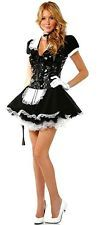 Ladies Flirty French Maid Uniform Fancy Dress Costume with PVC Lace Up Bodice UK