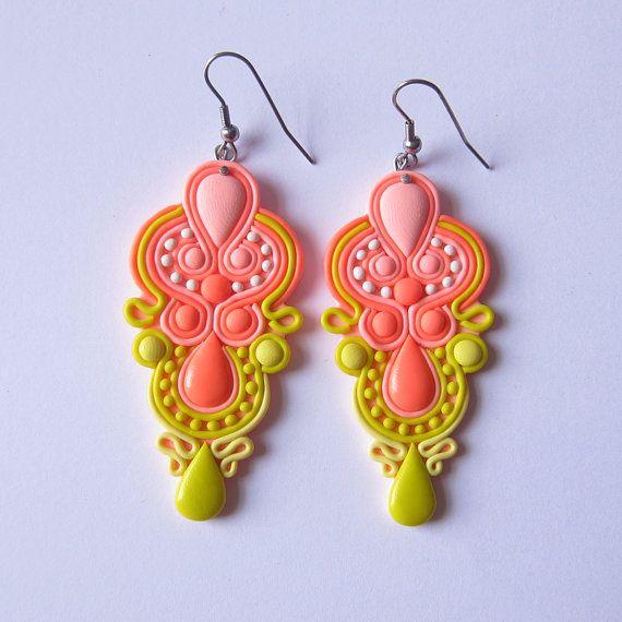 Neon Salmon Pink Peach Lemon Yellow Long Light Statement Polymer Clay Boho Hippie Summer Hot Disco Dance Samba Colorful Modern Big Earrings