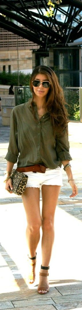 Army green and white denim cut offs