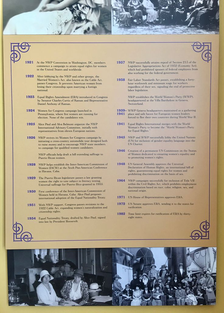 Here is the chronology of the Equal Rights Amendment from 1921-1982.