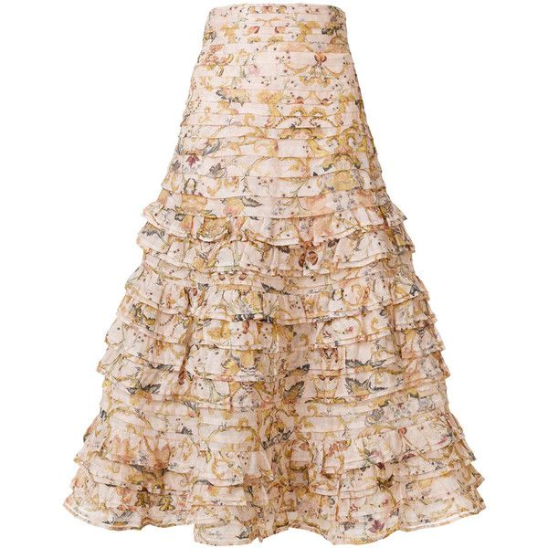 Zimmermann floral ruffle skirt ($1,742) ❤ liked on Polyvore featuring skirts, pink skirt, pink floral skirt, zimmermann, frilly skirt and pink frilly skirt