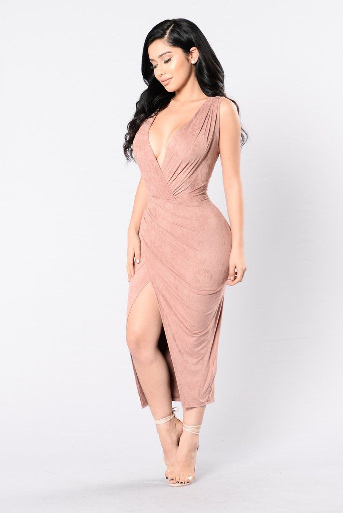 - Available in Dusty Pink, Navy and Denim Blue - Suede Long Midi Dress - Surplice V Neckline - Sleeveless - Overlap Ruched Bottom - Made in USA - 90% Polyester 10% Spandex