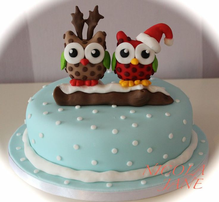 Christmas Owls - by nicolalabridgeter @ CakesDecor.com - cake decorating website