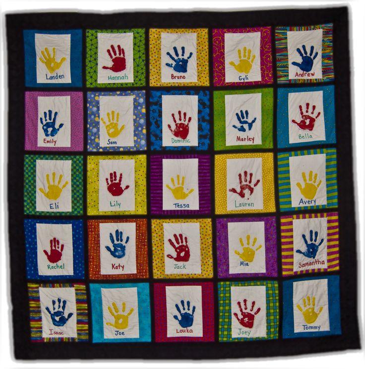 Quilt Patterns For Kindergarten : Handprint quilt made for a retiring kindergarten teacher. cutest thank you gifts for teachers ...