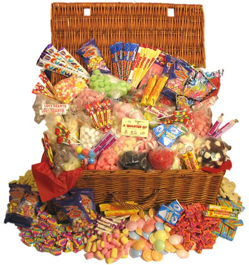 Christmas gift idea, hamper of retro sweets  ~ I did this one year for my funny honey.  Back then, the old, classic candies were hard to find. Now, they are easily available at Cracker Barrel, Vermont Country Store, and the Internet. :)