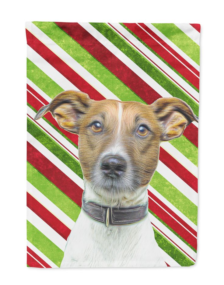 Candy Cane Holiday Christmas Jack Russell Terrier Flag Garden Size KJ1169GF