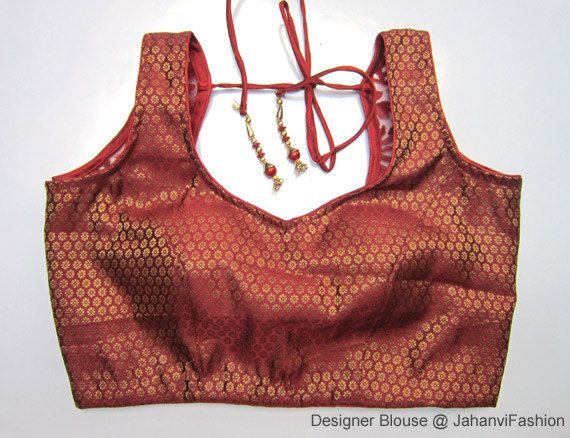 Red sleeveless saree blouse with small flower in chanderi, designer blouse, Saree Top - Sari Top - For Women by JahanviFashionShop on Etsy