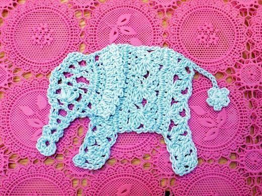 ぞうのモチーフ(編み図付き、象、ゾウ)の画像:Crochet symbol chart