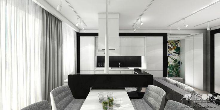 Projekt wnetrza kuchni z jadalnią. Więcej na www.artcoredesign.pl .