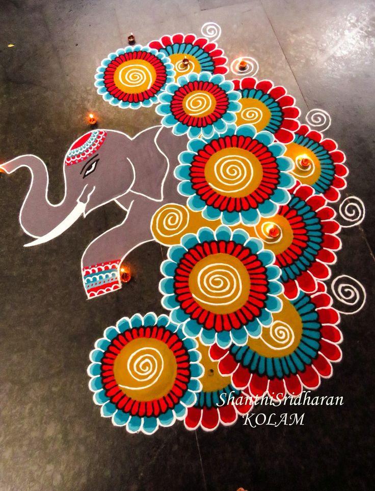 #elephant#blue#red#yellow#kolam