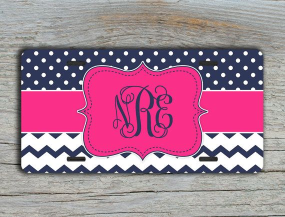 Personalized front license plate chevron license plate - Hot pink with navy blue chevron and polka dots by ToGildTheLily, $16.99 #etsy #monogrammedgift