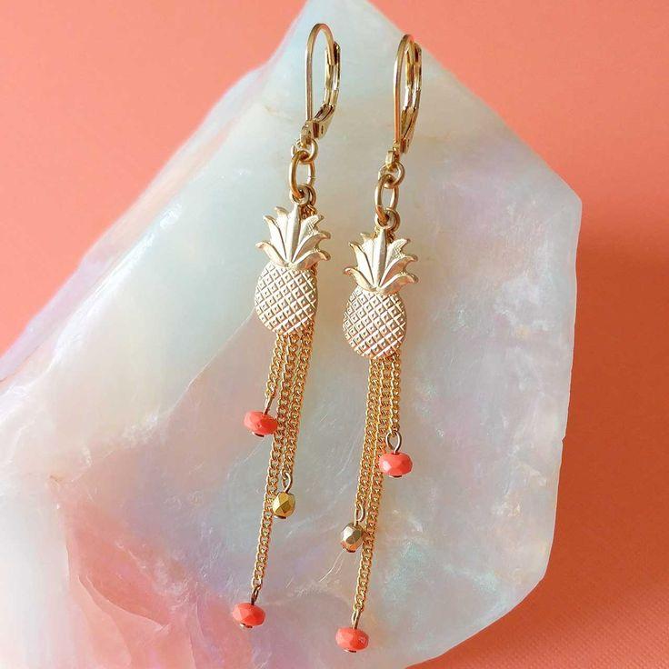 Tutti Frutti Earrings by Sandrine Devost    pineapple earrings tassels, boucles d'oreilles ananas