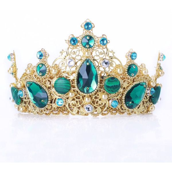 Emerald Swarovski gold crown, Teal wedding tiara,crystal... ❤ liked on Polyvore featuring accessories, hair accessories, gold headband, head wrap headband, gold crown headband, gold headband crown and green headband
