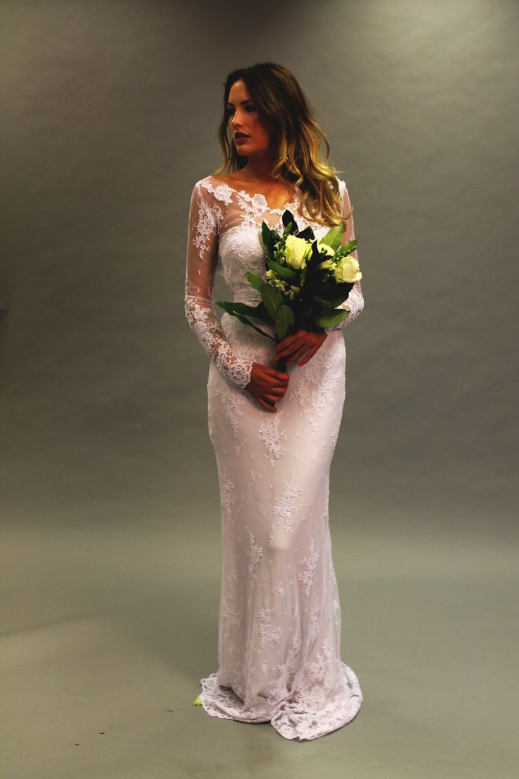Full length from the front, lucky to be able to use such amazing corded lace #weddingdress