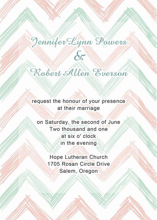 mint green and blush chevron wedding invitations EWI279 as low as $0.94 |