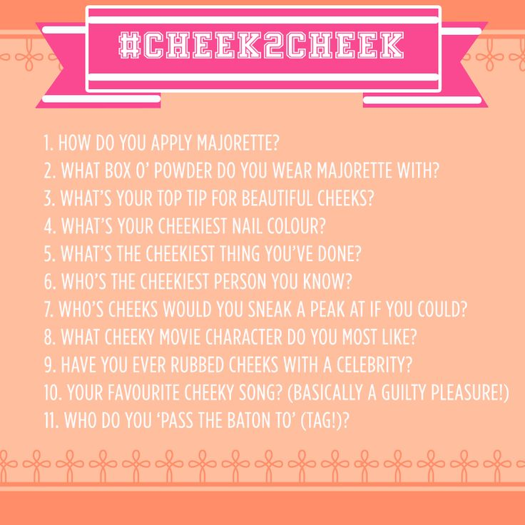 Get involved in our #cheek2cheek tag on you blog or vlog...it's the cheekiest one in town! xx