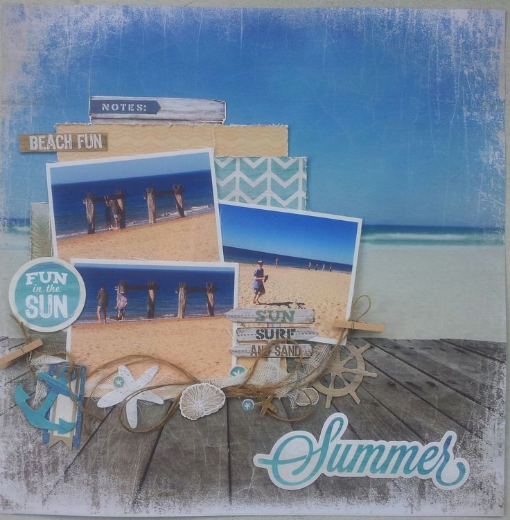 Sandy Toes by Kaisercraft. Layout done for makeApage scrapbooking.