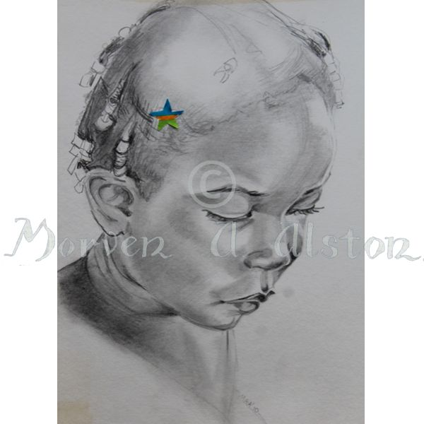 Thinking on a STAR (Sold to Aid Rwanda). From an original drawing by Morven A. Alston.   I am proud to release my STAR cards range (Sold To Aid Rwanda). At $5 each (plus postage) my STAR range are ideal Christmas cards, and each sale is donated to assisting the people of Rwanda. Produced and printed by AnArtery.