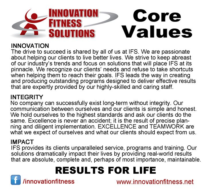 Innovation Fitness Core Values And Mission Statement Value Innovation Innovation Core Values