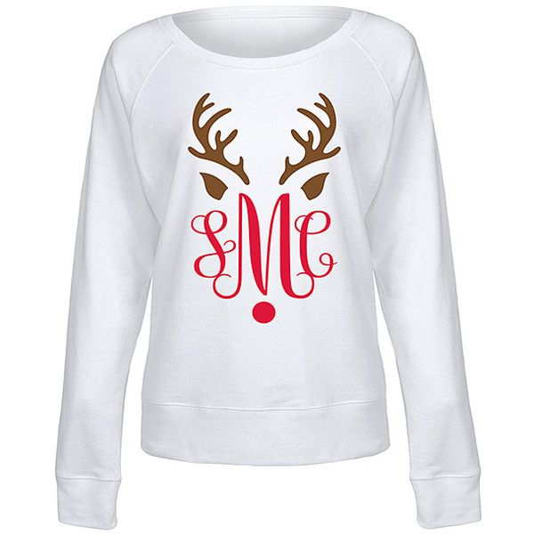 Festuvius White Monogram Reindeer Slouchy Pullover ($30) ❤ liked on Polyvore featuring tops, plus size, evening tops, monogrammed pullover, white evening tops, pullover top and special occasion tops