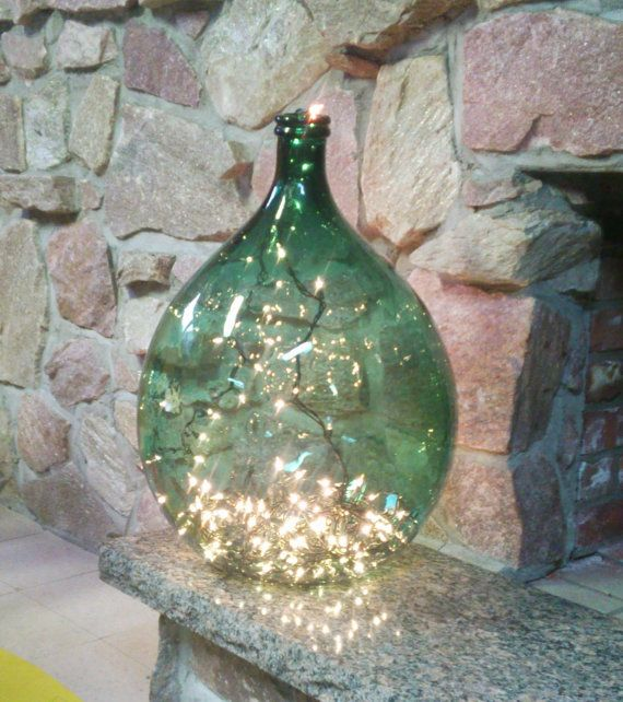 Vintage Dame Jeanne/ Demijohn wine bottle, Glass, dark green, Lighting , Floor lamp, Large vase