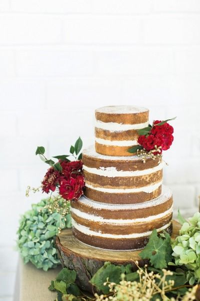 Gorgeous naked cake: http://www.stylemepretty.com/destination-weddings/2015/06/24/glamorous-floral-marsala-wedding-inspiration-in-south-africa/ | Photography: Kibogo - http://www.kibogophotography.com/