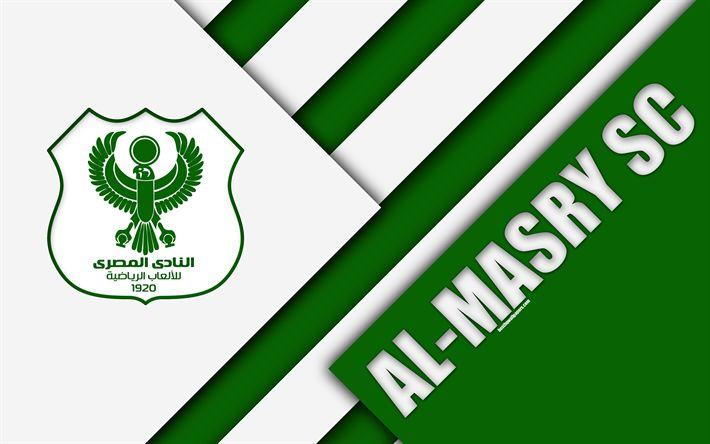 Download wallpapers Al-Masry SC, Egyptian Football Club, 4k, logo, material design, green white abstraction, Port Said, Egypt, football, Etisalat Egyptian Premier League