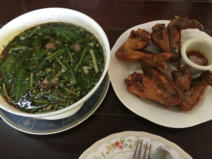 Local Thai taste - super spicy soup and the Thai style wings.