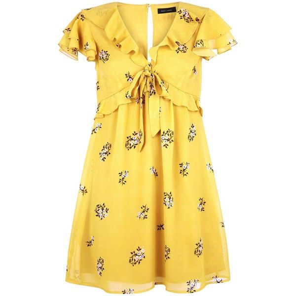 Yellow Floral Chiffon Frill Trim Tea Dress ($37) ❤ liked on Polyvore featuring dresses, yellow dress, flower design dresses, botanical dress, floral design dresses and floral dresses