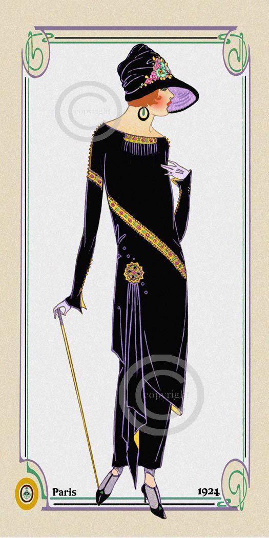 Art Deco Fashion Illustration Flapper Print by DragonflyMeadowsArt