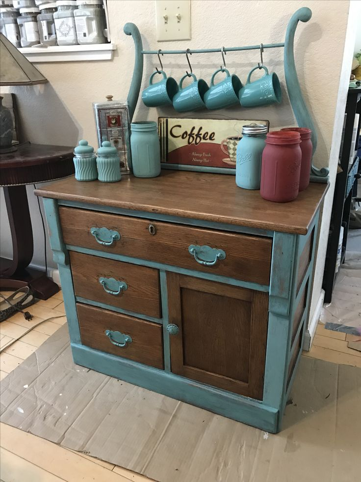 Cute Coffee Bar from old Dry Sink! #Coffee station ideas you need to see (coffee bar ideas) #Coffeebar #Coffeestation
