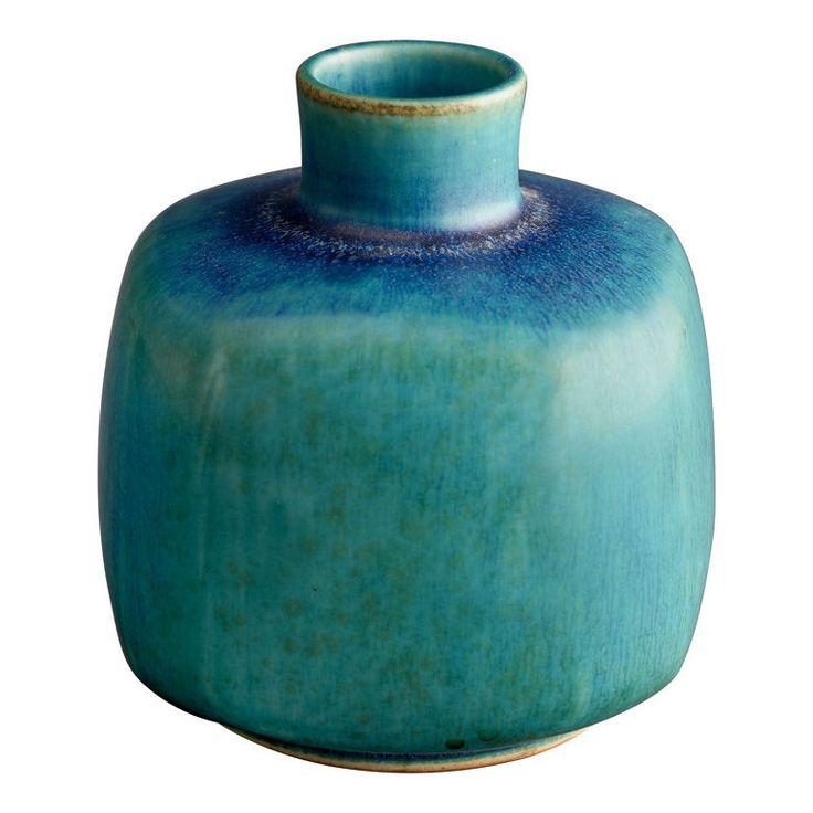 Eva Staehr-Nielsen for Saxbo Turquoise Ceramic Vase, ca. 1950.