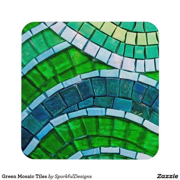 Green Mosaic Tiles Drink Coaster