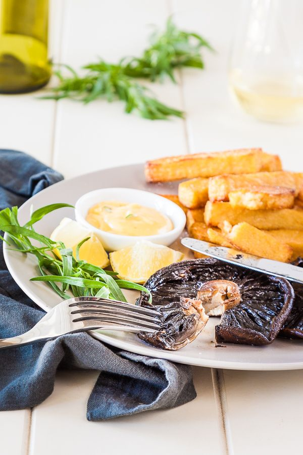Portobello Mushroom Steak with Polenta Chips and Bearnaise recipe - vegetarian steak and chips | Recipe at DeliciousEveryday...  #vegetarian #glutenfree