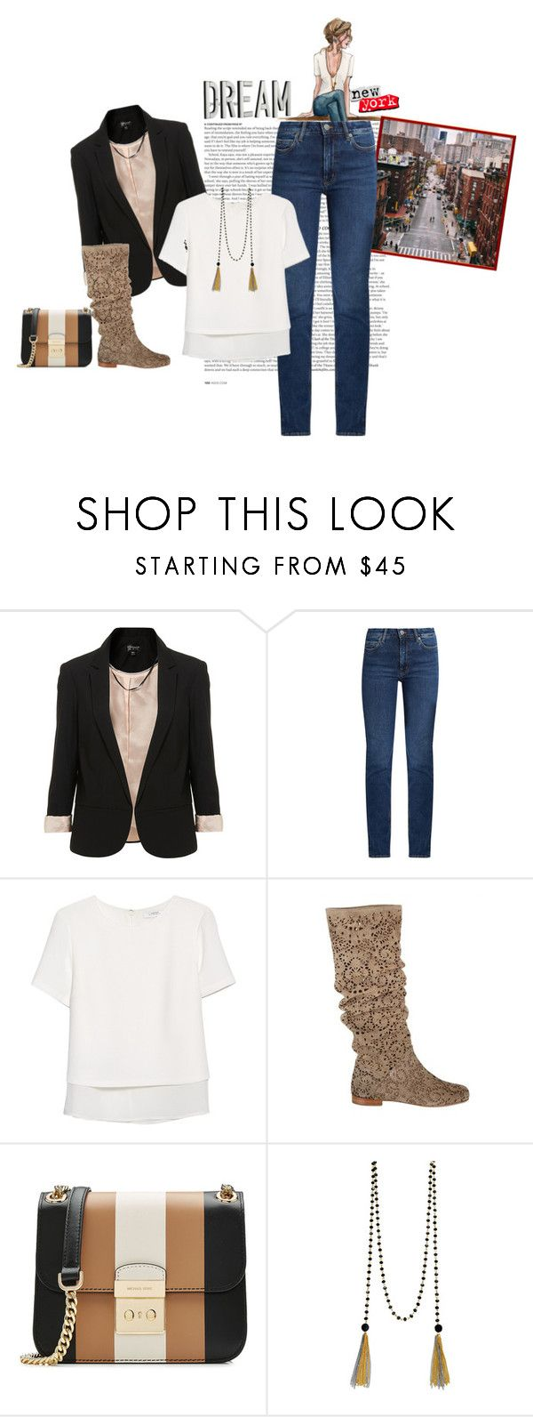 """""""Shopping con le amiche"""" by piccolauby ❤ liked on Polyvore featuring ASOS, Topshop, M.i.h Jeans, MANGO, Peter Flowers, MICHAEL Michael Kors, John Lewis and MML"""
