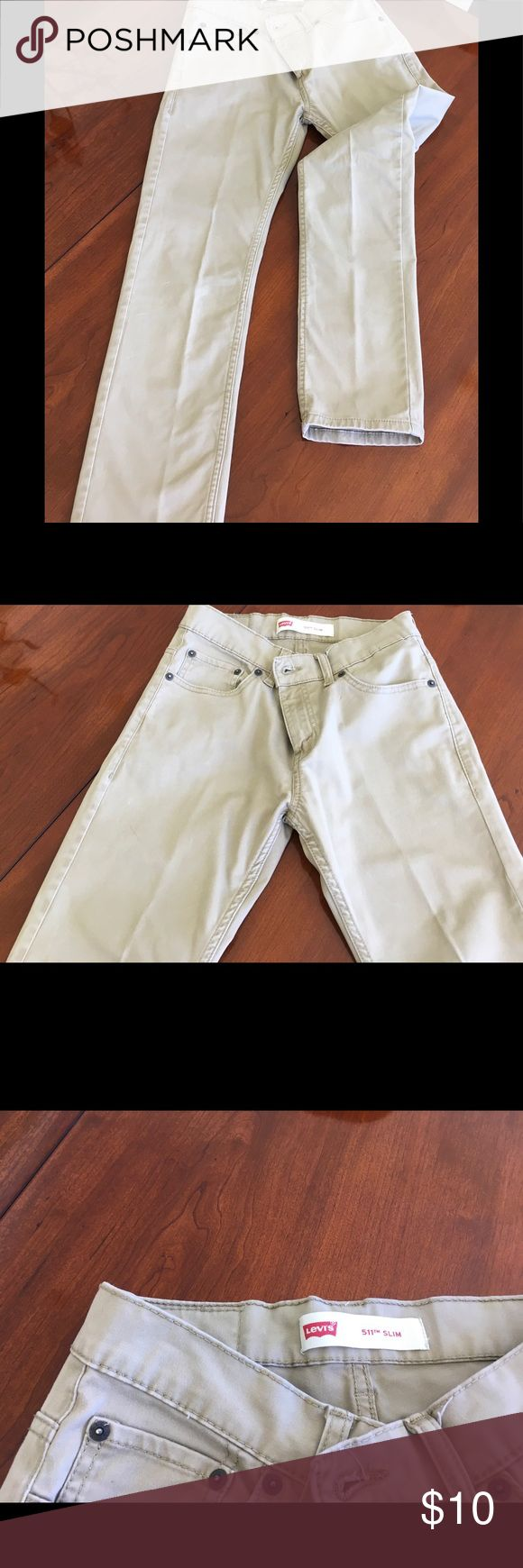 Boy's Levi's 511 Slim Khaki Jeans, 14 Reg, 27/27 In great condition, like new except for some minor flaws shown in the last 2 pictures, some pull threads and some lighter lines.  You do not see these flaws when on but I wanted to disclose them. Levi's Bottoms Jeans